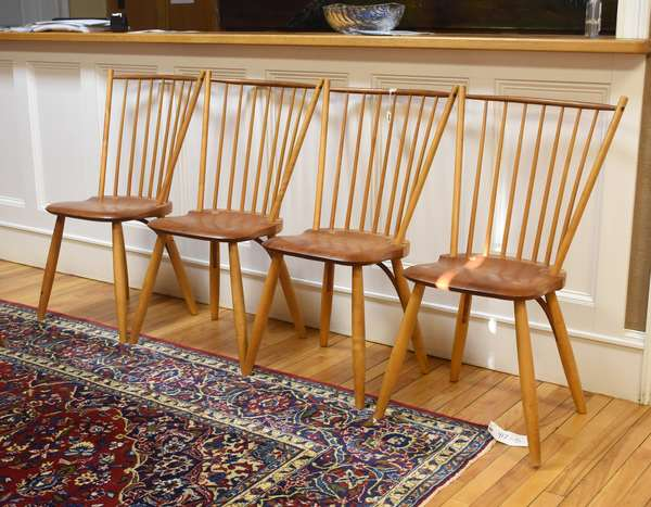 """Set of four signed Thomas Moser fan-back Windsor side chairs, 18""""H. seat height, 37""""H. overall, dated 1982, New Gloucester, Maine"""
