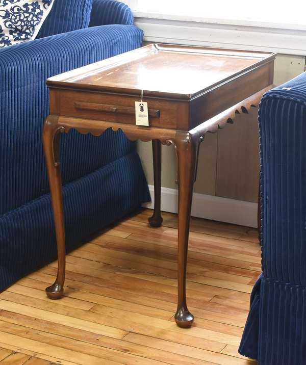 """Kittinger Queen Anne style tea table with two candle slides, 29""""L. x 18""""W. x 26.5""""H."""