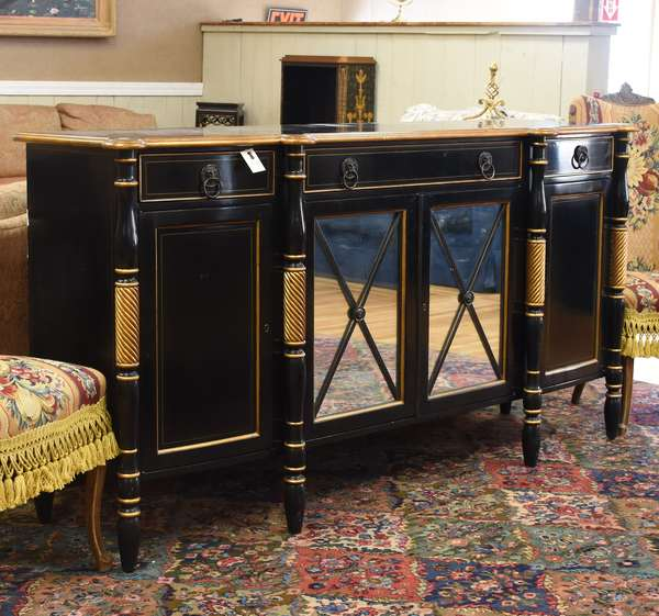 """Hickory and White custom black and gold sideboard, with mirrored front doors, top drawer with fitted sterling silver flatware compartments, cookie corners with slight bow front, 73.5""""L. x 22""""D. x 40""""H."""
