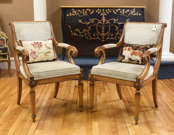 Pair of Neo-Classical style chairs with reeded front legs, scrolled back and grey upholstery