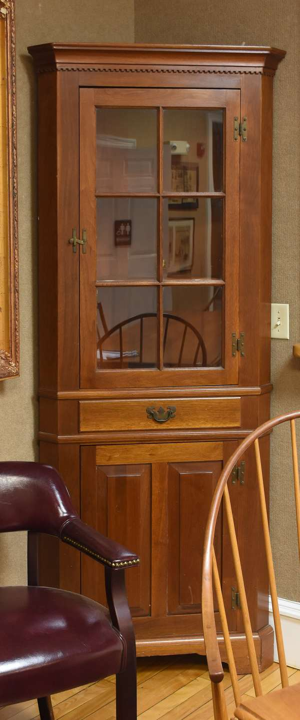 """Custom mahogany small size corner cupboard with dentil molding and six-light glass top, 79""""H. x 28""""W. x 15""""D."""