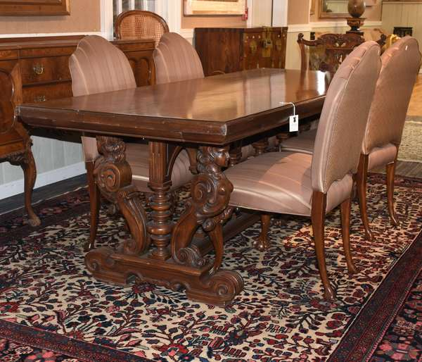 """Antique walnut trestle style dining table with carved female bust supports and medial stretcher, 91.5""""L x 36""""W x 31.5""""H"""