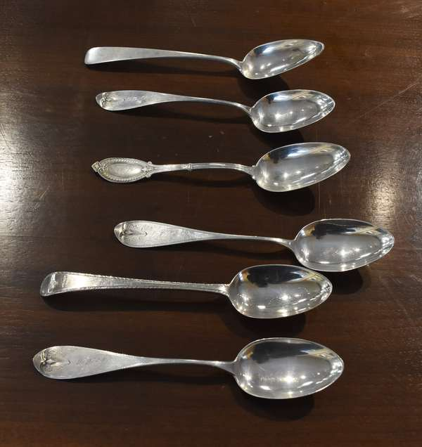 Three 900 silver serving spoons with three other spoons including an 18th C. English silver example, approx. 10 toz