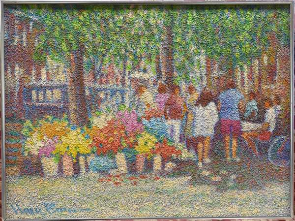 """Henry Benson (Florida, 20th C.) textured oil on canvas, The Flower Market, 17.5"""" x 23.5"""""""