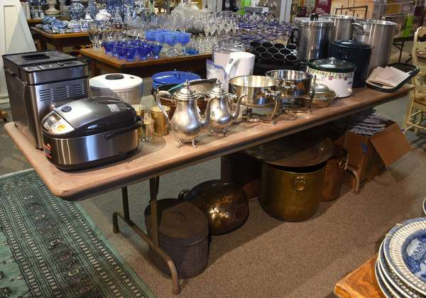 Kitchen related appliances including bread maker, rice maker, dishes, pots, and much more