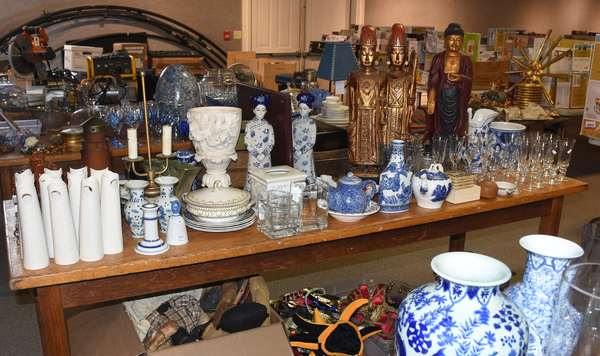 Decorative accoutrements including vases, blue and white porcelains, gilded wooden statues, and many other fine examples!