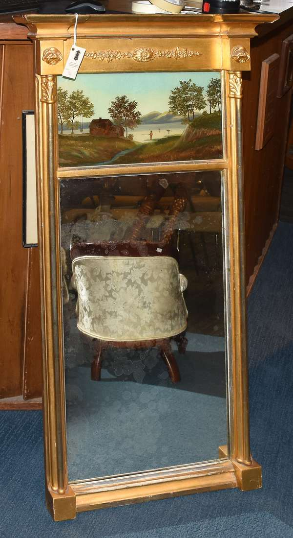 """Federal gilt mirror with reverse painted tablet, fishing scene, 44""""H. x 23""""W."""