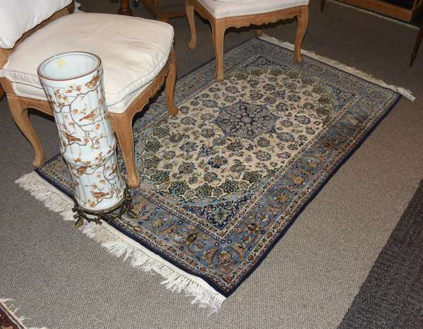 """Antique Oriental scatter rug, with Arabic script, blue and white, 5'9"""" x 3'6"""""""