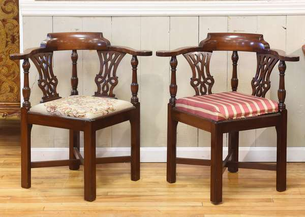 """Quality pair of Chippendale style corner chairs, with X-form stretchers, seat height 17"""", overall 32""""H"""