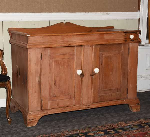 """19th C. Country pine dry sink in old color, 48""""L x 32.5""""H x 21""""D"""