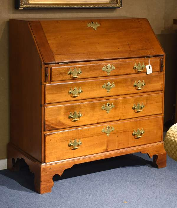"""18th C. Chippendale maple slant lid desk with fitted interior on bracket base, 36""""W. x 18""""D. x 42.5""""H."""
