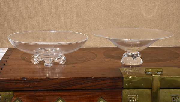 """Two Steuben glass center bowls, signed, 10.5"""", 11""""Dia."""