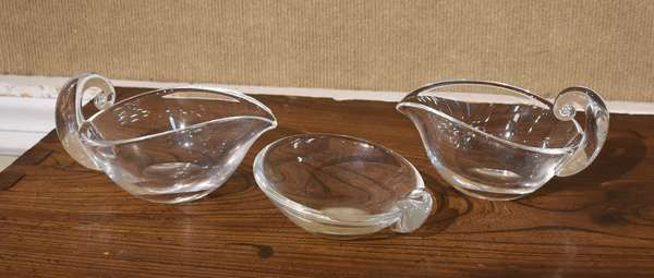 """Pair of Steuben glass gravy boats, 7""""L., with a small Steuben glass candy dish, 4.5"""".L, 3 pcs"""