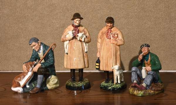 """Four Royal Doulton figurines, """"Lambing Time"""" 9""""H., """"The Shepard"""" 8.5""""H., """"The Master"""", 6.5""""H., """"The Wayfarer"""", 5.75""""H."""
