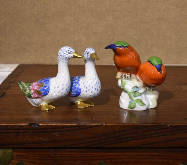 """Two figurines, Herend tropical birds, 4.74""""H., with Vista Algere ducks, 4.5""""H."""