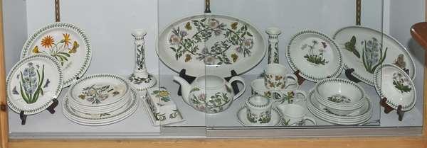 """Set of Portmeiron """"Botanic Garden"""" china, 31 pieces, including center dish, candlesticks, and teapot"""