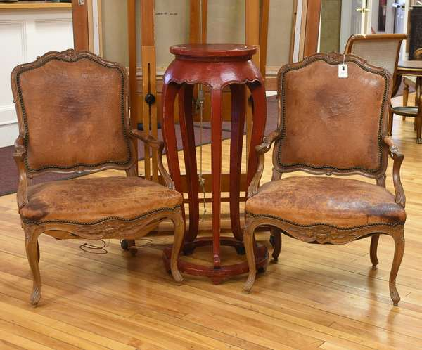 Pair of 19th C. French style armchairs, with leather upholstery