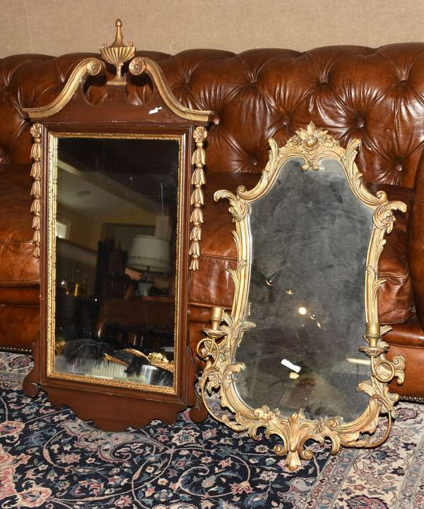 """Two mirrors: one gilded European girondole mirror, 31""""H., with a Federal gilded mirror, 39""""H."""