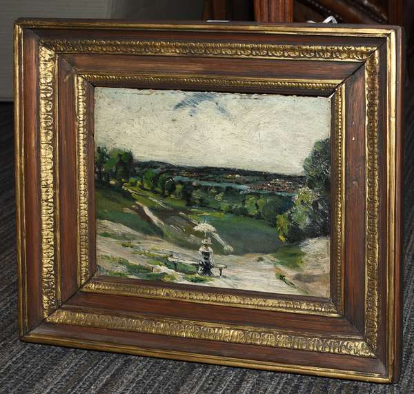 """Oil on paperboard, impressionist scene, woman with parasol in landscape, 7.5"""" x 9"""""""