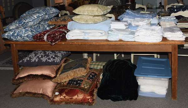 Collection of bedding, throw pillows, drapes and other home linens - just a selection pictured!