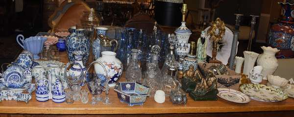 Decorative accessories including blue and white porcelain, cloisonné, crystal decanters, bookends, and much more