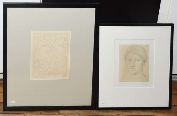 """Two lithos: one of horses and one of a portrait of woman, by William Bailey, titled """"For Donald Hall"""", 10"""