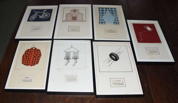 """Set of seven pencil signed lithos by George Schneeman screen prints titled """"Seven Calendars"""", 12"""" x 7"""" (897-3)"""