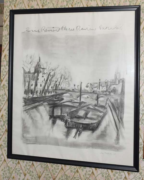 "Paris review litho by Jane Freilicher, 38"" x 30"" (897-4)"