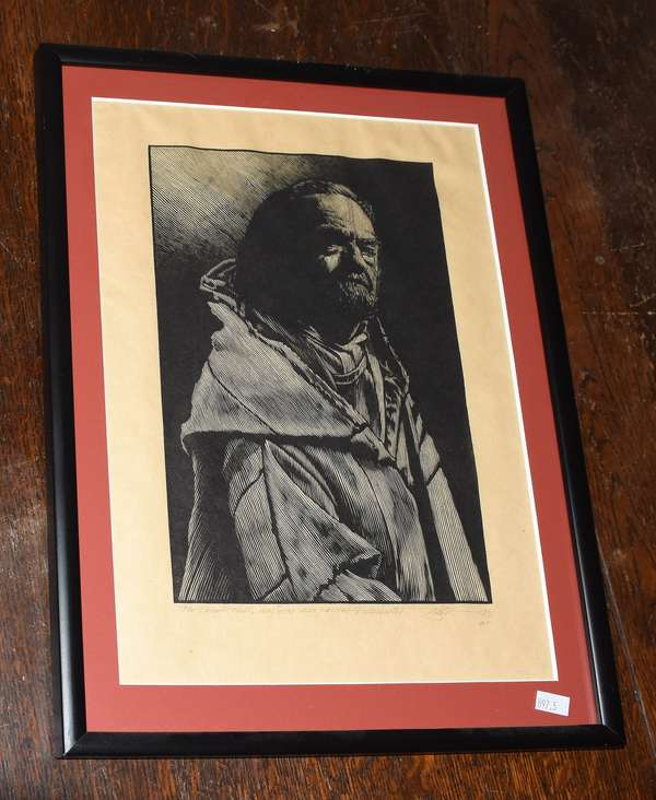 """Woodcut print on paper, pencil signed and titled by Barry Moser, """"Ecclesiastes"""", inscribed """"For Donald Hall, my dear friend and patient"""", 11.5"""" x 7"""" (897-5)"""