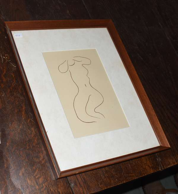 """Colored lithograph by Henri Matisse, illustration from Ronsard's """"Love Poems"""", 61.5"""" x 9.5"""" (897-6)"""