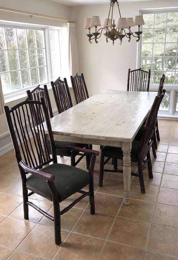 Set of eight Adirondack style dining chairs(6-5)