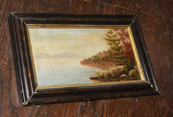 Oil on board of a lake and mountain scene, 5