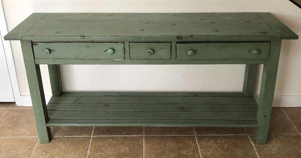Three drawer green hall table, 62