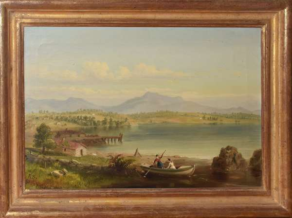 """Oil painting """"Ossipee Mountain from Center Harbor"""" by Russell Smith 1848, with Vose Galleries label on reverse, 11.5"""" x 18"""" (897-9)"""