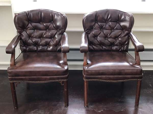Pair of brown leather office chairs (6-8)