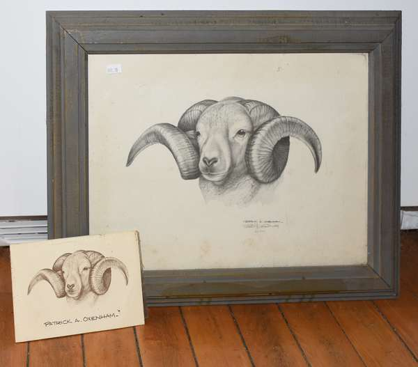 """Litho of a Ram by Patrick A Oxenham, 11.5"""" x 15.5"""" (897-10)"""