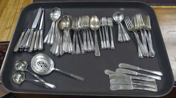 Sterling silver flatware set, approx. 63 T. oz, excluding knives, service for 8 (44-386)