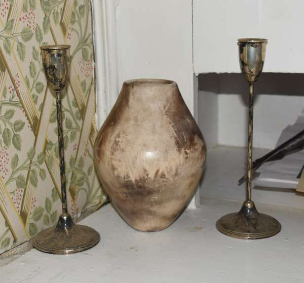 Decorative vase with pair of sterling weighted candlesticks, 8.5