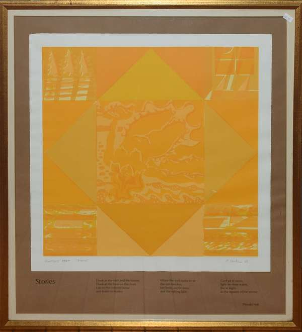 """Artist's proof litho, illustration for poem """"Stories"""" by Donald Hall, pencil signed A. Mueller, 20"""" x 19.5"""" (897-12)"""