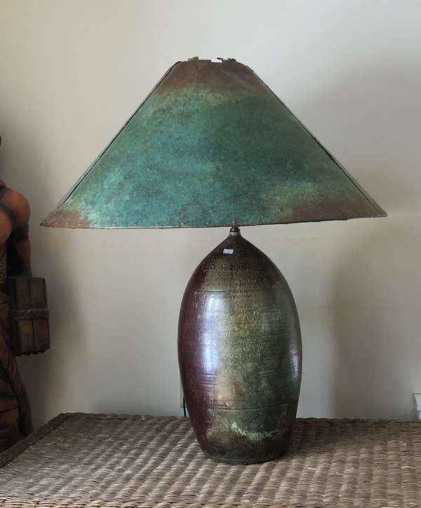 """Pair of green stoneware lamps, 32""""H. (6-12) (one shown)"""