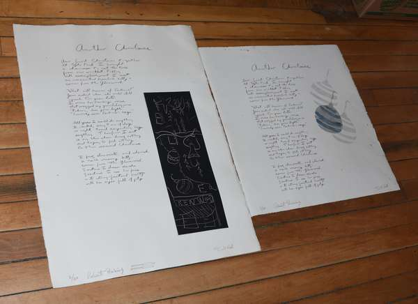 """Two artworks: """"Another Christmas"""" poem by Donald Hall and litho by Robert Perkins (897-13)"""
