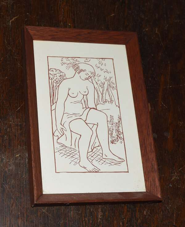 """Sangiune woodcut, """"Odes D' Horace"""" by Aristide Maillol, 6"""" x 3.5"""" (897-14)"""