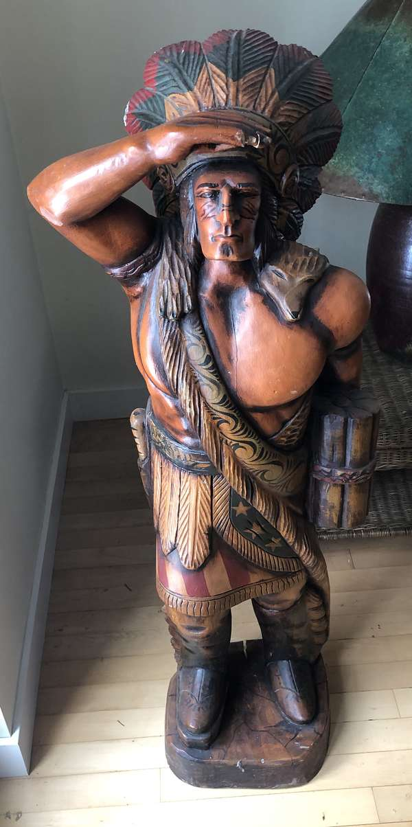 """48"""" tall painted wooden Native American statue (6-14)"""