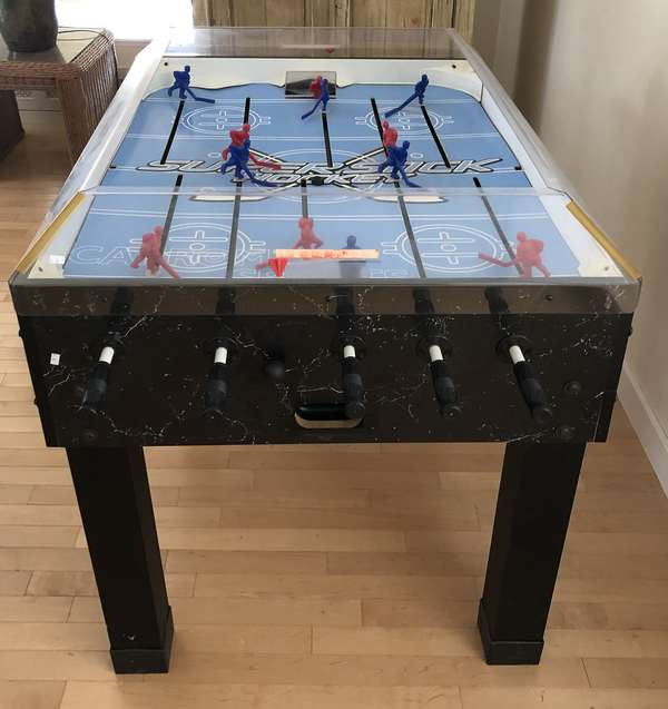 """Hockey game table, 34""""W. with handles 58""""L. x 40""""H. (6-16)"""