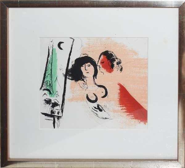 """Colored litho """"The Green Eiffel Tower"""" Marc Chagall, 7.5"""" x 8.5"""" (897-19)"""