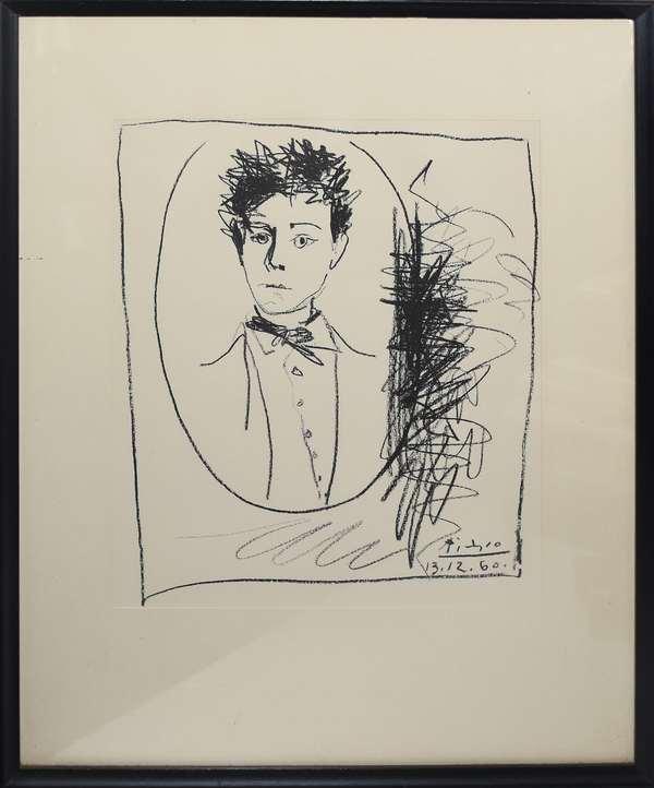 """Original litho """"Portrait of Rimbaud"""" by Pablo Picasso, 11"""" x 9"""" (897-20)"""