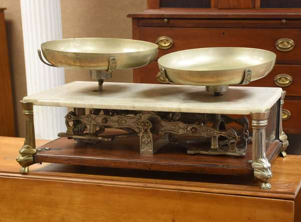 """Table scales with marble top case, initialed AH, 27""""L. (435-5)"""