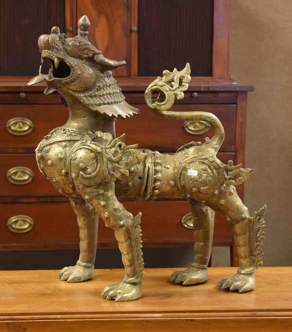 """Brass/bronze Chinese foo lion sculpture, 23""""H. (435-7)"""