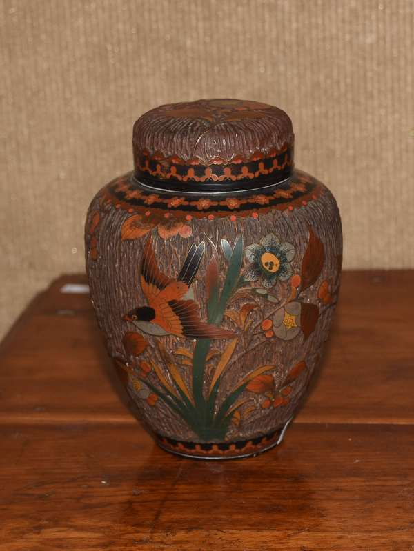 Tree bark cloisonne vase (461-72)