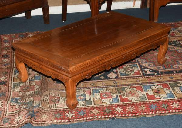 """Carved Chinese elm low (Kang) table, 33.5""""W. X 21""""D. X 10""""H. (461-99)"""